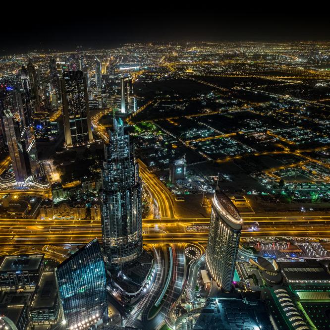 Dubai, Blick vom Burj Khalifa bei Nacht