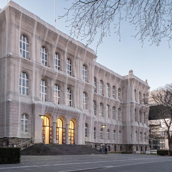 Aachen, RWTH, verkleidetes Hauptgebäude und Super C